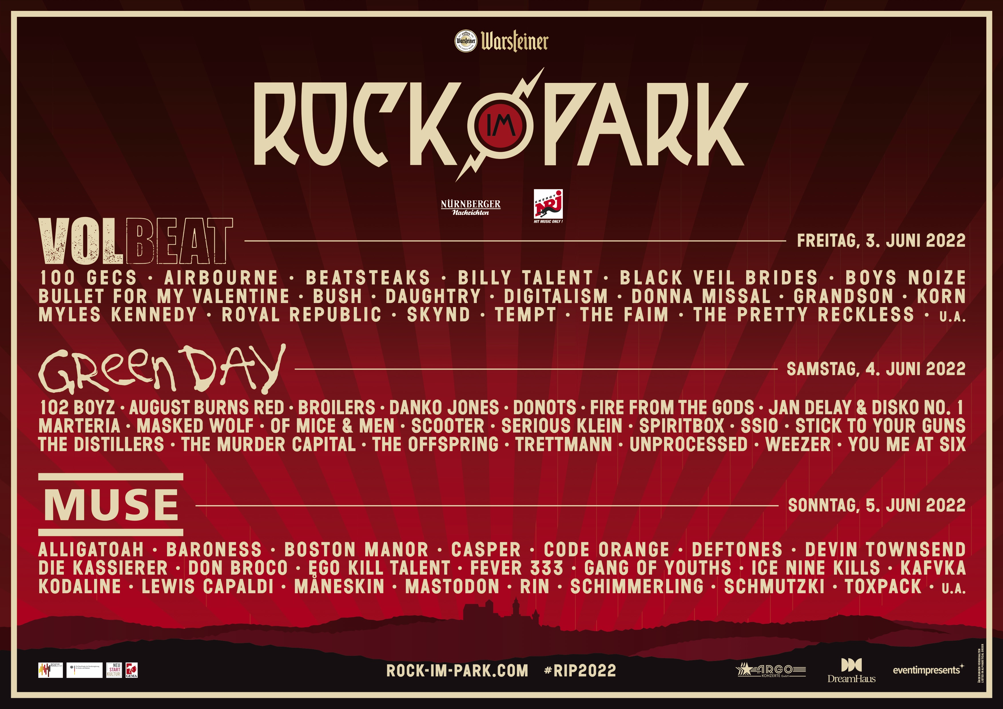 Tages Line Ups online   Rock im Park 8
